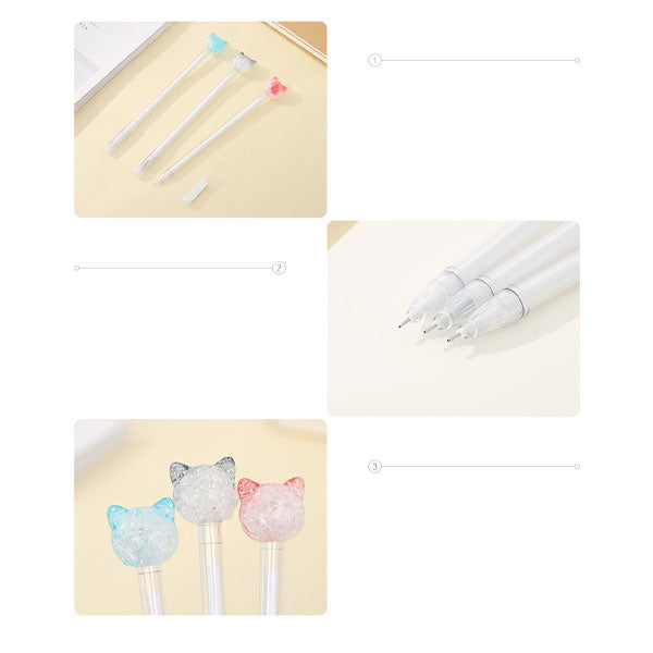 Crystal Cat Design Gel Pen (Price For 1 Piece)