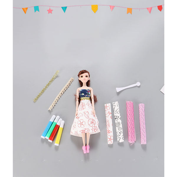 DIY Color Painting Dress&Barbie Set