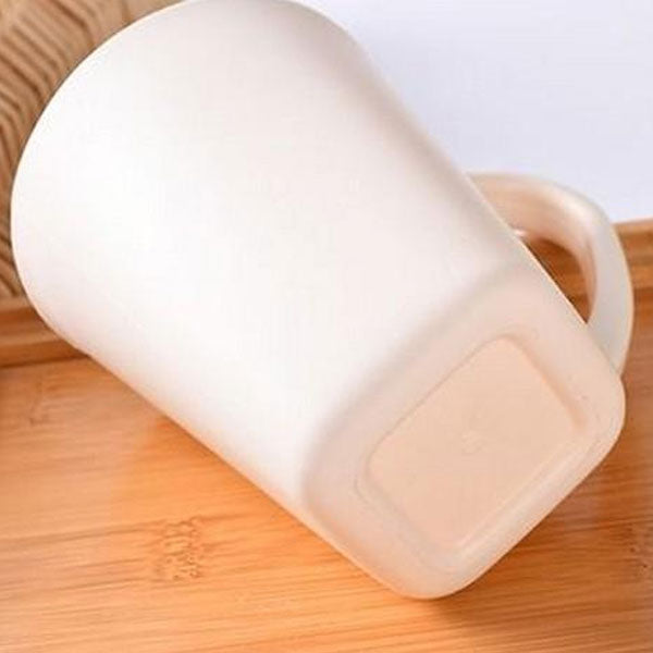 Decent Plain Square Plastic Tooth Cup-Beige