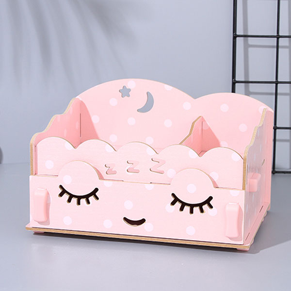 Dreamy Girl Wooden Storage Organizer (Pink)