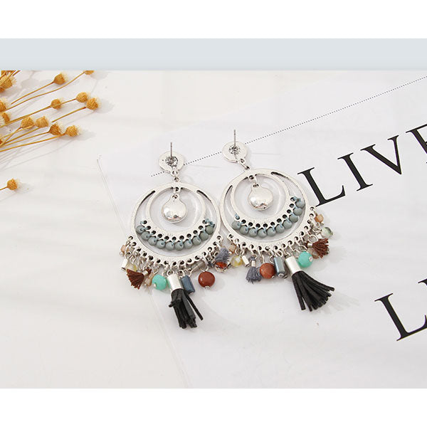 Ethnic Style Colorful Beads Dangle Earrings
