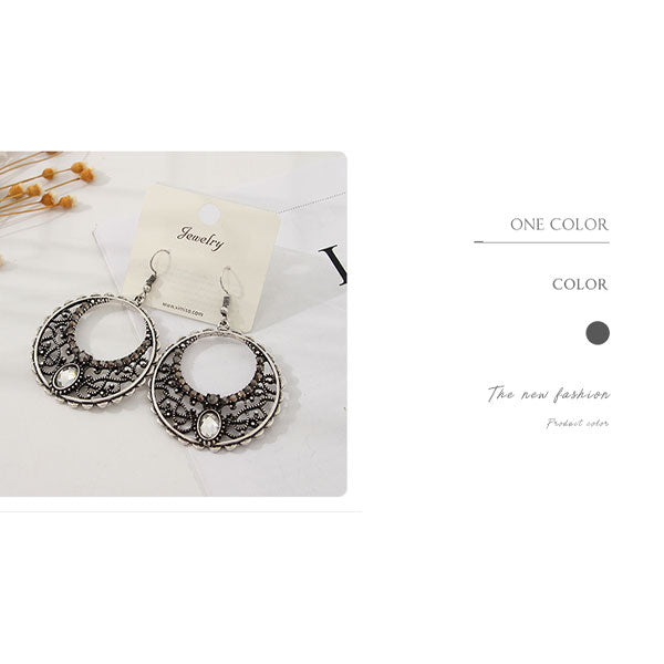 Ethnic Style Hoop Dangle Earrings