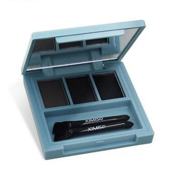 Eyebrow Powder & Wax With 3D Shaping Brushes And Mirror - Natural Black Shades