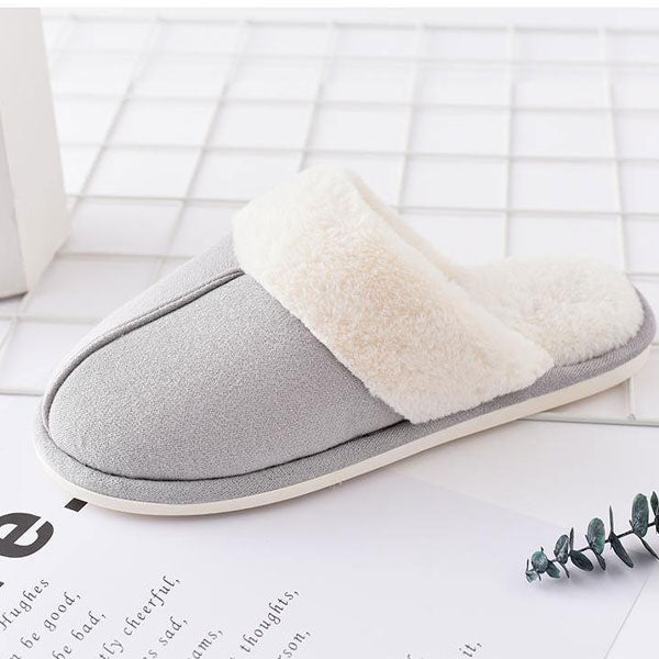 Fluffy Closed Toe Slipper for Men-Brown