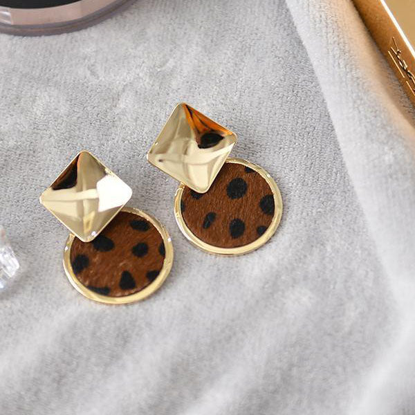 Geometry Leopard Print Earrings