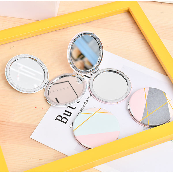 Geometry Pattern Round Pocket Mirror
