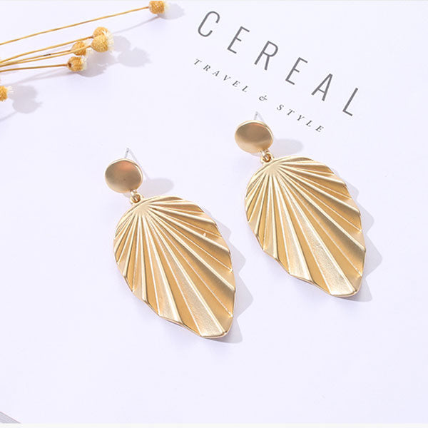 Golden Textured Teardrop Dangle Earrings