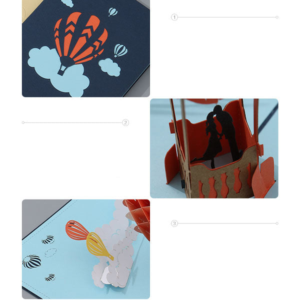 Hot-Air Balloon 3D Pop Up Gift Card Set