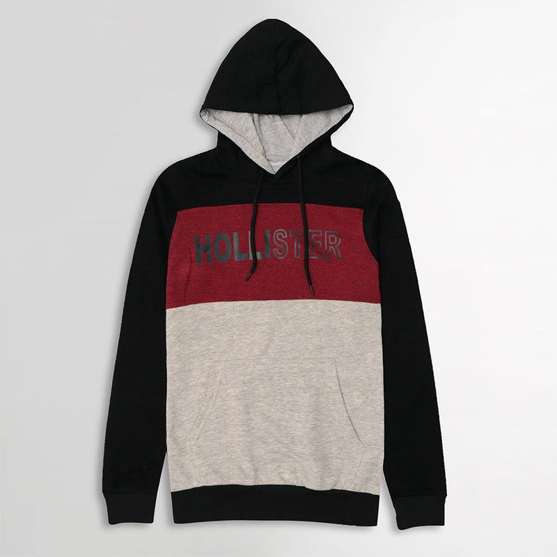 COLOR BLOCK SLIM FIT GRAPHIC PULLOVER HOODIE