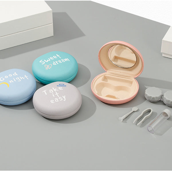 Interesting Semi-Circle PU Contact Lens Case with Mirror