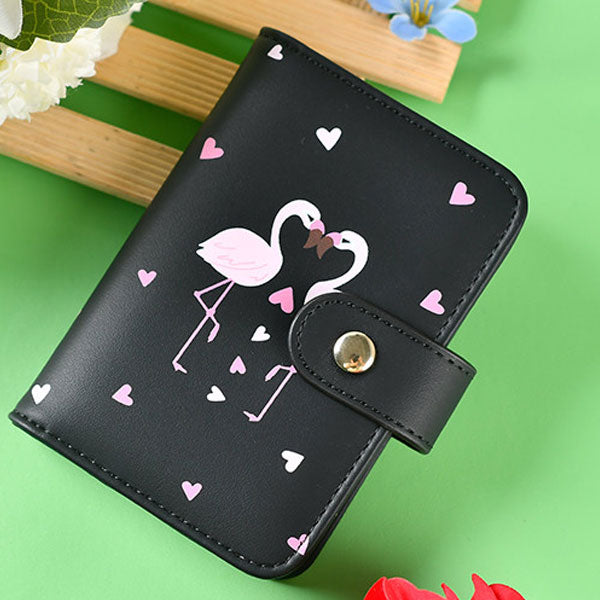 Love Flamingo Card Wallet/Bag - Black