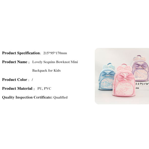 Lovely Sequins Bowknot Mini Backpack for Kids (Price For 1 Piece)