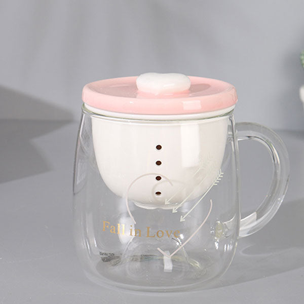 Loving-Heart Glass Cup with Tea Infuser (Price For 1 Piece)