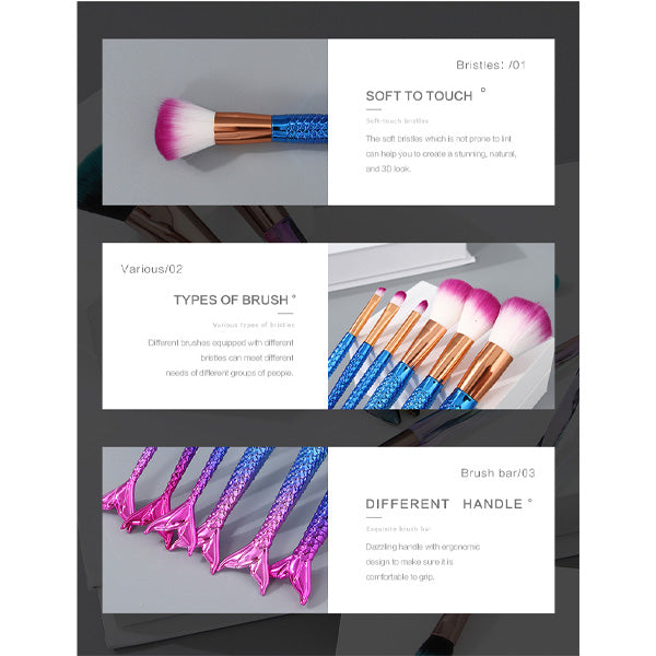 Mermaid Dazzling Electroplated Handle Makeup Brush