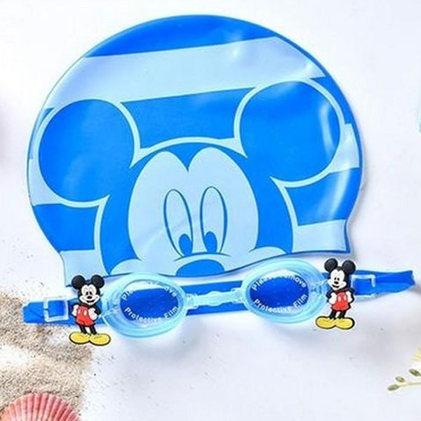 Mickey Mouse Swimming Goggles & Cap Set- Blue