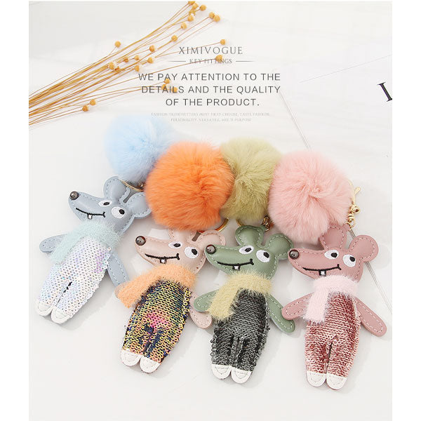 Mouse Wearing Scarf Bag Charm Keychain Pendant (Price For 1 Piece)