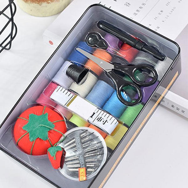 Multipurpose Tin Square Sewing Box With 20 Multicolored Threads+ Scissor + Measuring Tape + Needles
