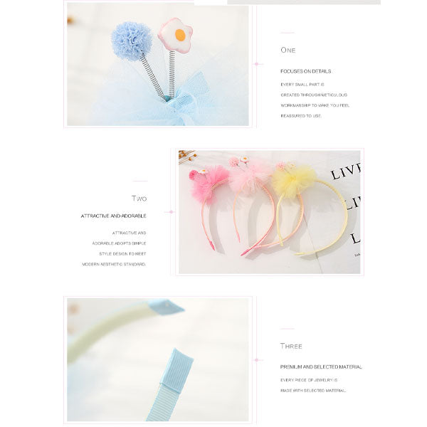 Pink Mesh Spring Fluffy Ball Hairband For Children