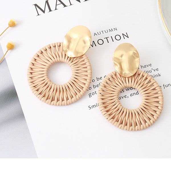 Rattan Dangle Metal Earrings