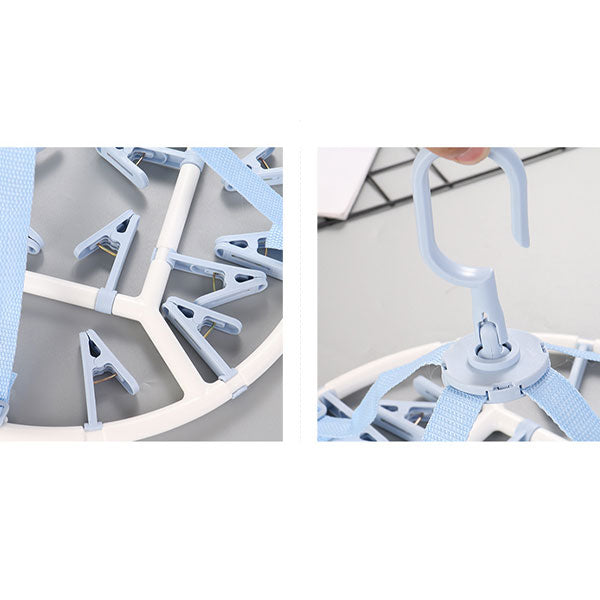 Round Clothes Hanger with 20 Clips