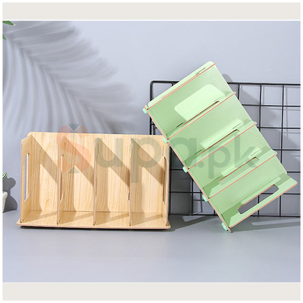 Simple Style 4-Compartment Wooden Notebook Storage Organizer