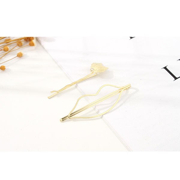 Simple Style Lip-Shaped Golden Bobby Pin Hair Clip Set