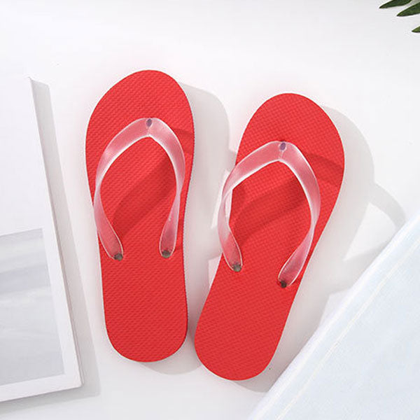 Simple Style Solid Color Flip Flops for Women (Red)