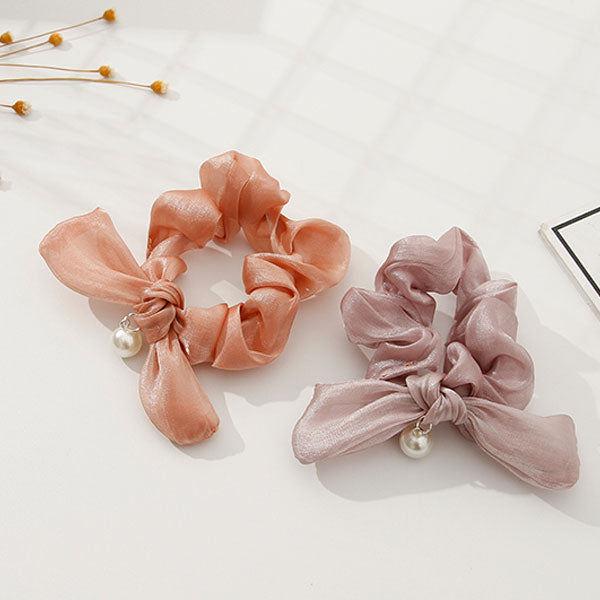 Simulated Pearl and Bowknot Scrunchies