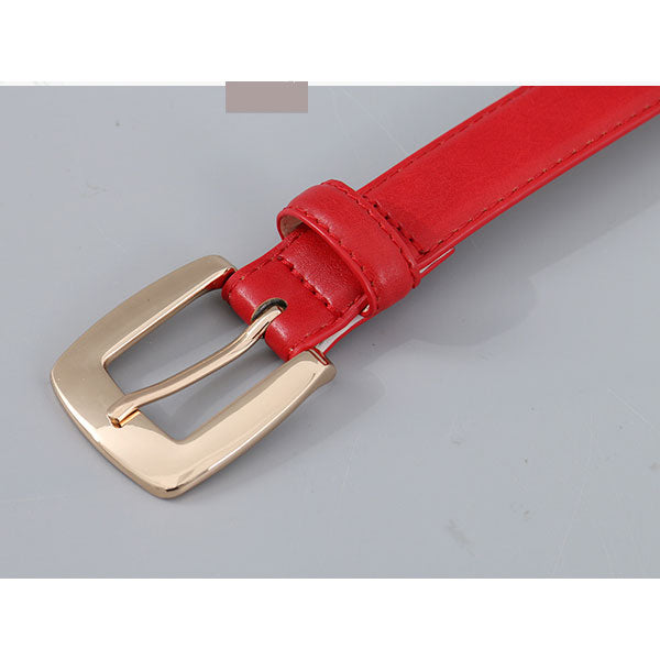 Solid Color Women PU Belt with Single Prong Buckle