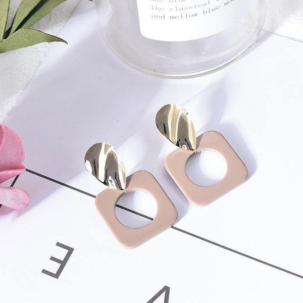 Stylish Hollowed-Out Square Dangle Earrings
