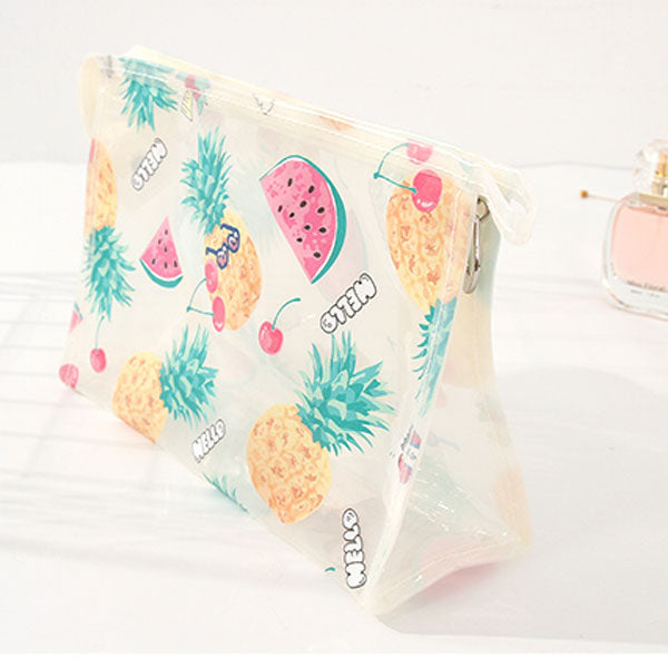 Summer Fruit Pattern Clear Cosmetic Bag (Clear)