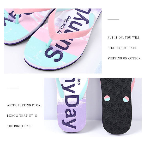 SunnyDay Casual Style Flip Flops for Woman (Pink)(Size:35/36/37/38/39/40)