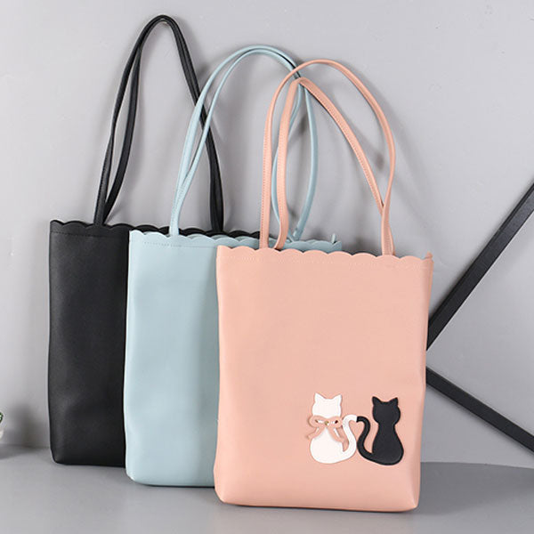 Trendy Couple Cat Pattern PU Shoulder Bag (Price For 1 Piece)