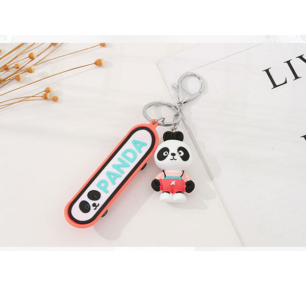 Trendy Panda Skateboard Bag Charm Keychain Pendant (Price For 1 Piece)