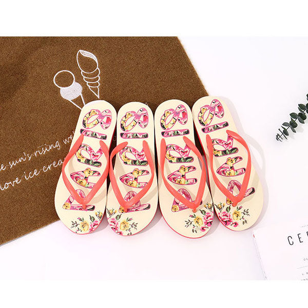 Floral Letters Print Flip Flops for Women (White)(Size:37/38/39/40)