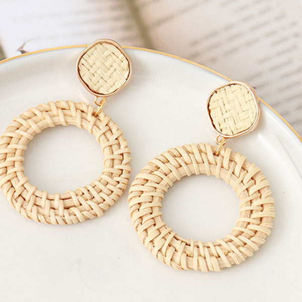 White Rattan Hoop Dangle Earrings