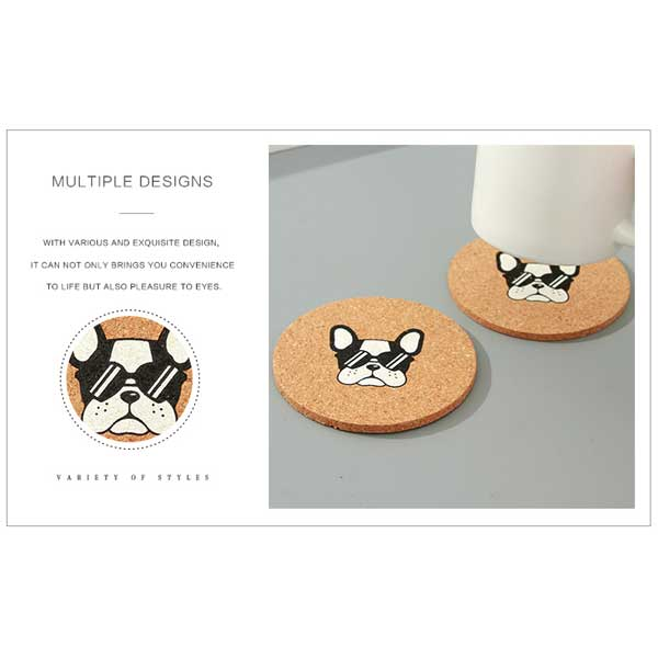 Puppy Design Cork Drink Coaster (Price for 1 piece)