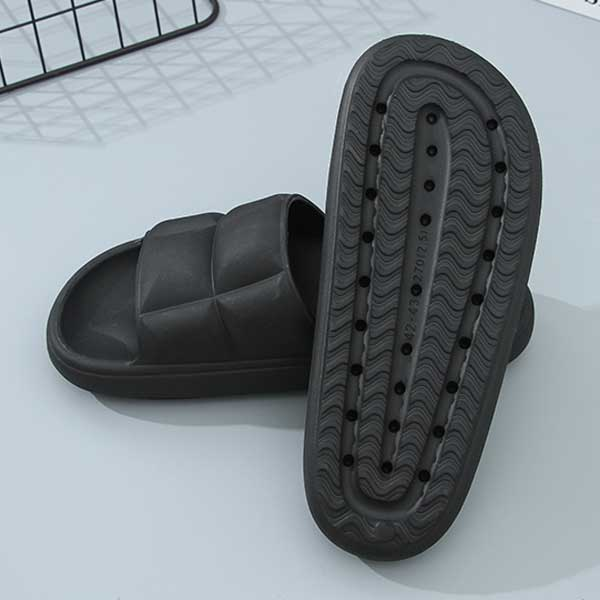 Slides with Soft and Thick Sole (42/43) (Black)