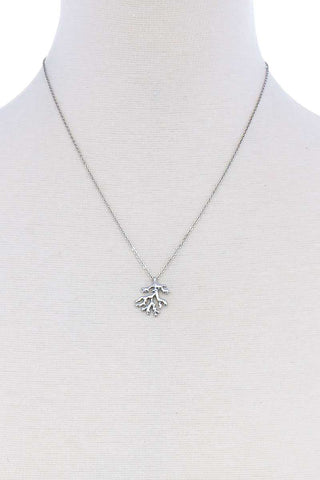 Cute Coral Leaf Pendant Necklace
