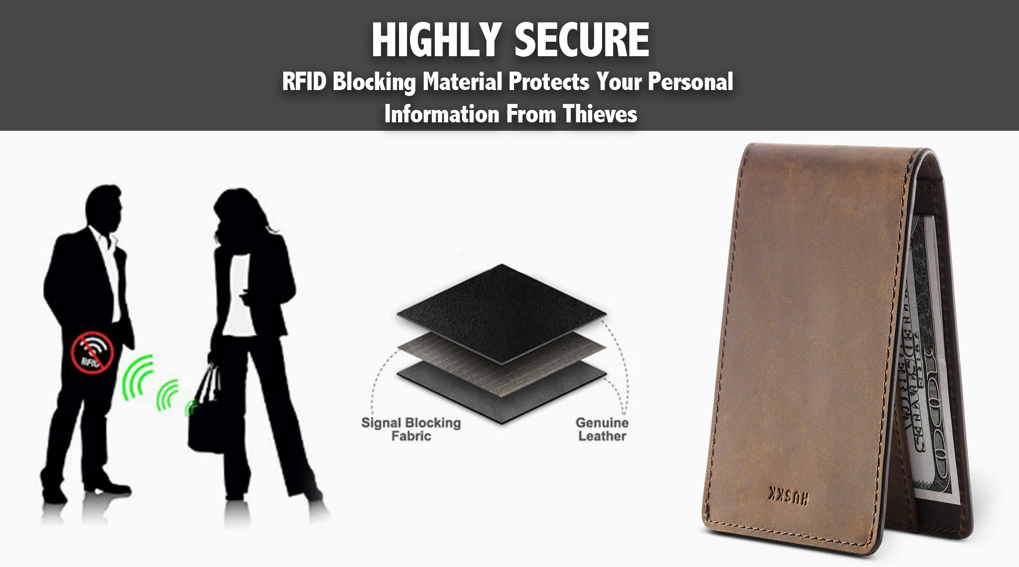 Card Sleeve Holder with RFID Blocking / Dark Brown CH