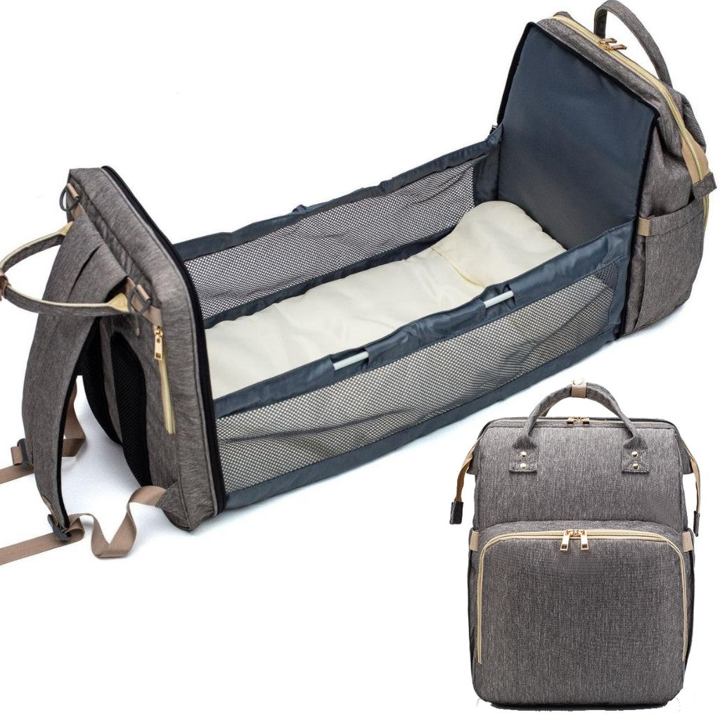 Diaper Backpack Changing bed grey