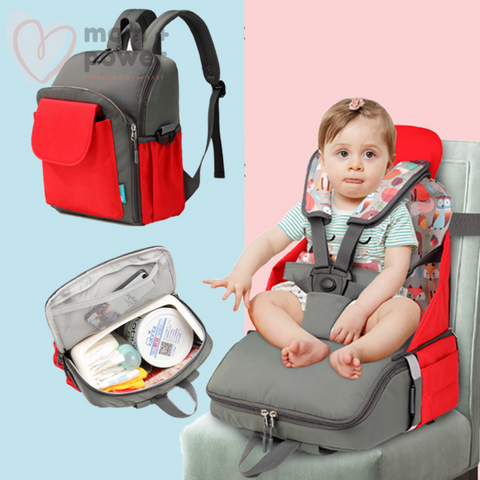 Diaper Bag with Portable Dining Chair Red