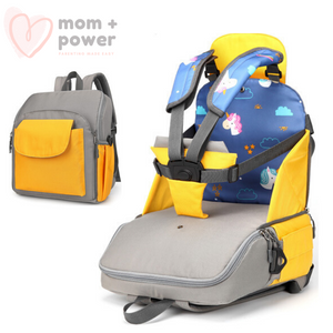 Diaper Backpack with Portable Dining Chair Lemon Yellow