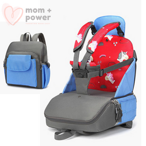 Diaper Backpack with Portable Dining Chair Blueberry Blue