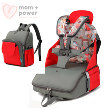 Load image into Gallery viewer, Diaper Backpack with Portable Dining Chair Candy Apple Red