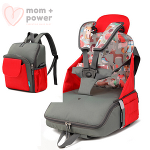 Diaper Backpack with Portable Dining Chair Candy Apple Red