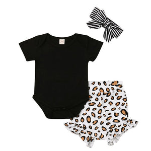 Leopard Print Baby Girls Clothes Tops Newborn Romper Short Pants Summer Outfits roupa menina toddler clothes meisjes kleding