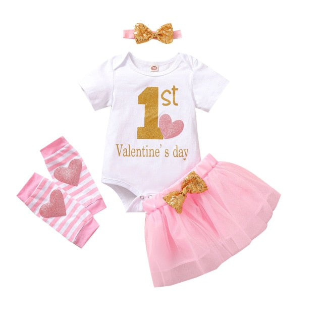 My First Valentines Day Baby Girl 4PCS Set | Mom Power™