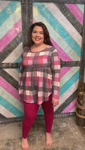 Load and play video in Gallery viewer, Fuschia Long Sleeve Top with Baby Doll Cut