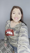 Load and play video in Gallery viewer, Camo Top with Red Lips Long Sleeve